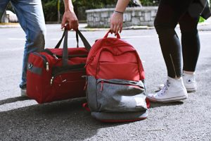 A backpack and a duffel bag