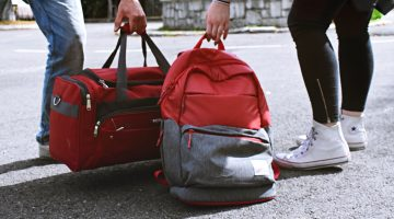 A backpack and a duffel bag