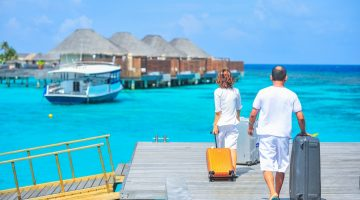 A man and a woman on vacation in Maldives