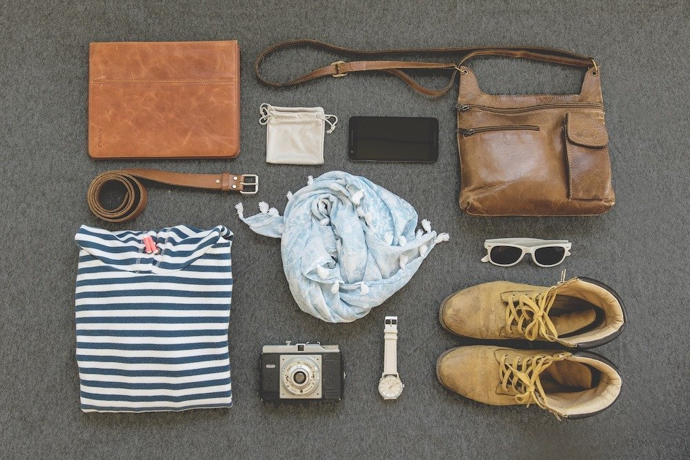 Leather crossbody bag and accessories