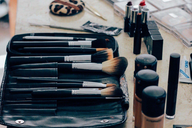 Makeup brushes in a makeup bag