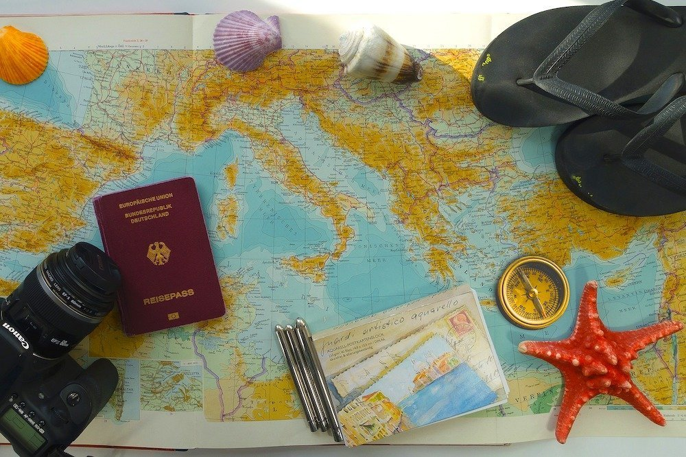 A map and passport