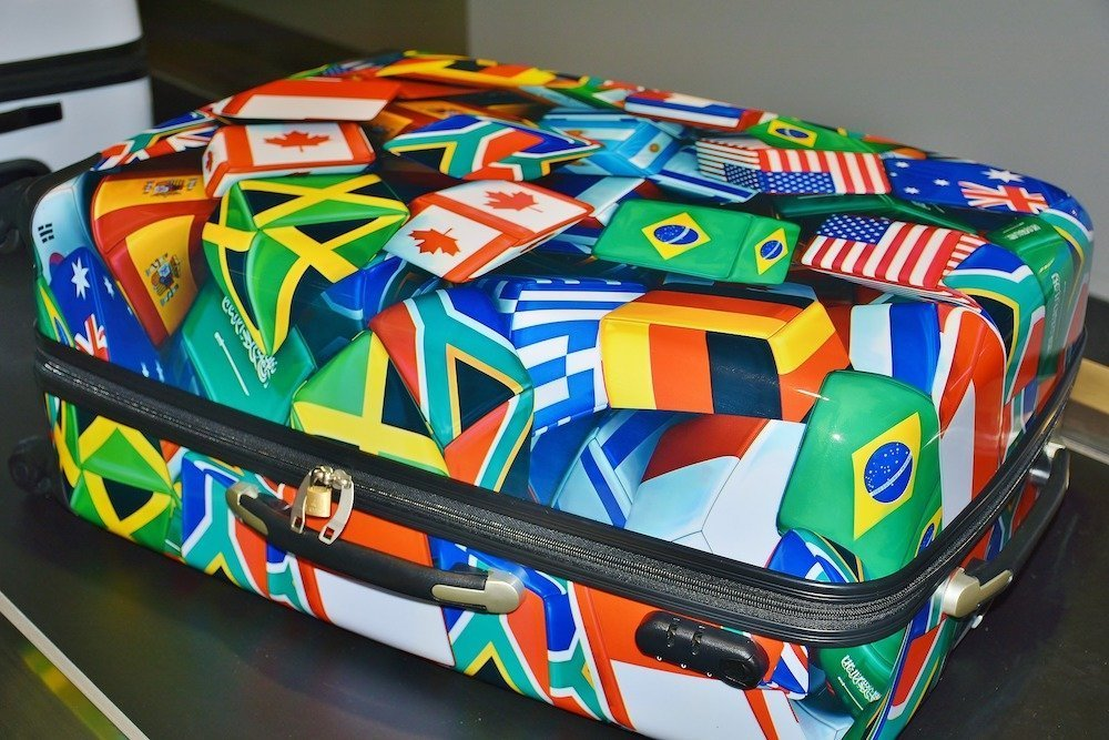 A colorful suitcase