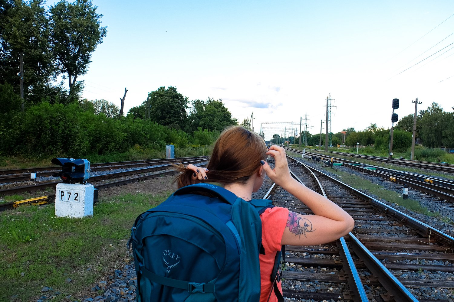 The author with an Osprey backpack in Riga