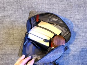 Contents of the Waterfly Messenger sling bag