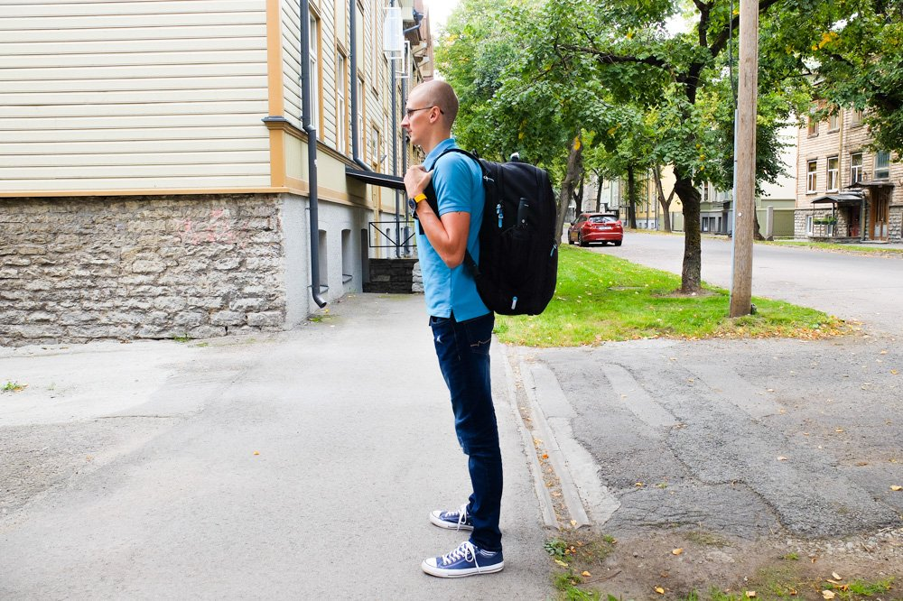 Standards Carry on backpack on a person