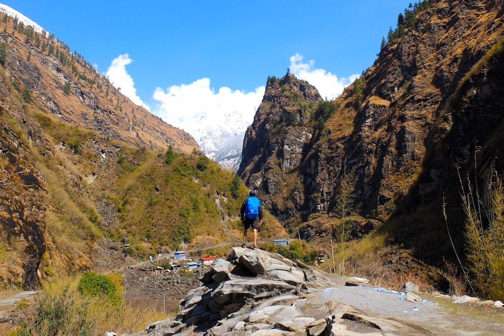 A person hiking in Nepal
