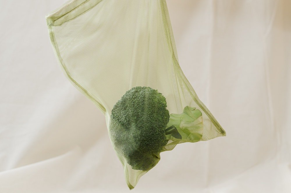 Broccoli in a reusable produce bag - Best reusable produce bags