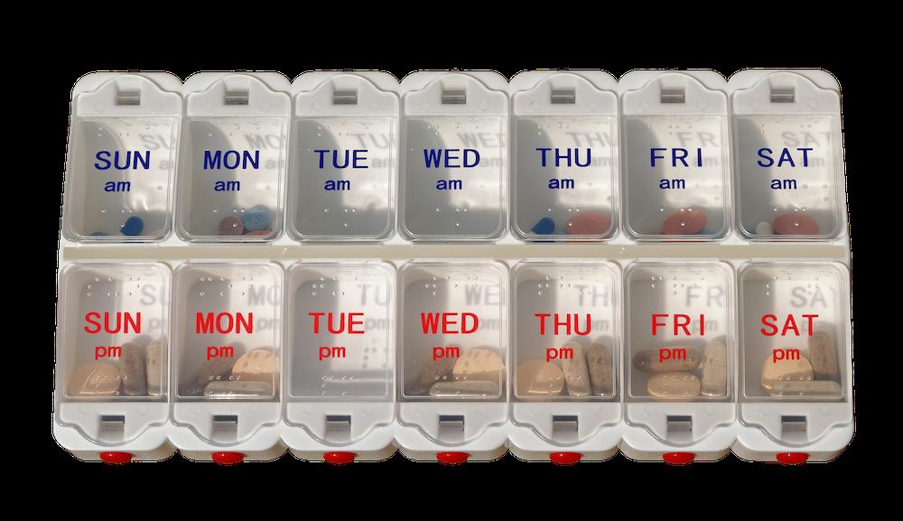 Twice-a-day pill organizer