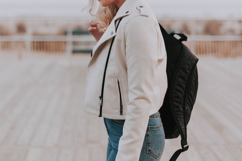 A woman with a backpack