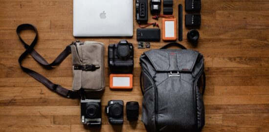 Gadgets and a bag on the table