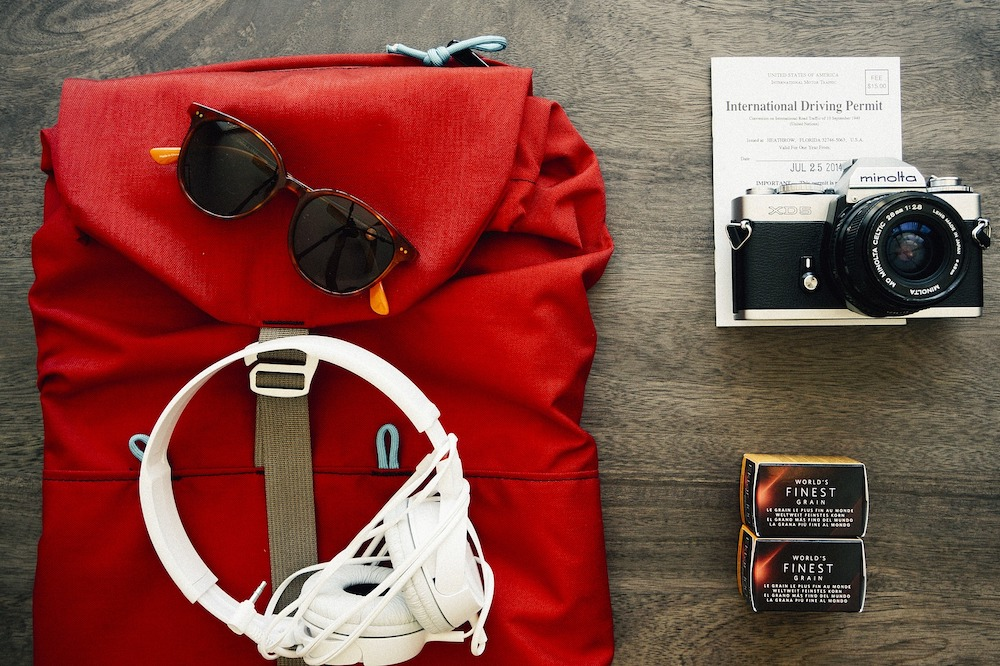 Headphones on a red bag